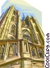 Vector Clip Art image  of a Brussels St Michael's Cathedral, Belgium