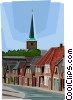 Vector Clip Art image  of a German town with church