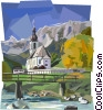Bavarian country scene with church and mountain Vector Clip Art picture