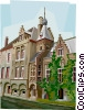 Vector Clipart image  of a Bruges Guild Buildings in