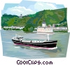 Vector Clip Art graphic  of a German river boat in the Rhine River