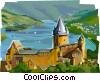 Vector Clipart illustration  of a Rhine River Castle