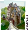 Vector Clip Art graphic  of a Burg Eltz Castle, Germany