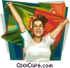 Portuguese football fan Vector Clipart picture