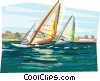 Vector Clip Art picture  of a Windsurfers in the bay