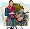 Vector Clip Art graphic  of a Portugal fado singers