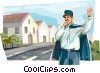 French policeman directing traffic Vector Clipart graphic