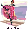 French can-can-dancer at Moulin_Rouge Vector Clipart picture