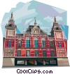 Amsterdam Holland Centrum Central Station Vector Clipart graphic