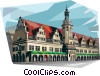 Vector Clip Art graphic  of a Germany Leipzig Old Town Hall