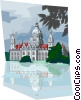 Germany Hannover City Hall pond reflection Vector Clip Art image