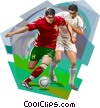 Portugal football players with ball in action Vector Clipart illustration