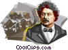 French dramatist Alexander Dumas Vector Clipart picture