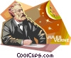 French author Jules Verne Vector Clipart picture