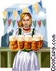 Vector Clipart graphic  of a Germany Oktoberfest girl
