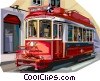 Portugal old tram in Lisbon Vector Clip Art graphic
