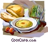 Vector Clipart graphic  of a French lunch with soup and