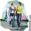 Women shopping in Paris France Vector Clipart illustration