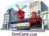 Vector Clip Art graphic  of a Paris France Moulin Rouge