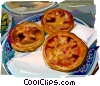 Portuguese Custard Tarts Vector Clipart illustration