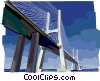 Portugal Vasco da Gama Bridge in Lisbon Vector Clipart graphic