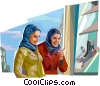 Arabic women shopping for shoes Vector Clip Art picture