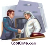 Vector Clip Art graphic  of an Arabic business meeting