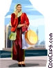 Arabic woman shopping Vector Clipart graphic
