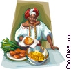 Brazilian woman in Bahia dress with festive foods Vector Clipart illustration