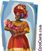 Vector Clip Art image  of a Brazilian woman in Bahia dress