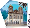Brazilian Bahia culture, traditional church Vector Clip Art picture