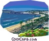 Vector Clip Art graphic  of a French Riviera sea coast
