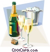 Vector Clip Art image  of a French champagne celebration