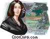 French Romantic writer George Sand Vector Clip Art picture