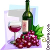 French red wine with glass and grapes Vector Clip Art picture