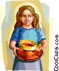 Girl with Epiphany cake Galette Des Rois Vector Clipart illustration