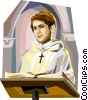 Catholic Priest delivering sermon Vector Clipart graphic