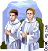 Boys preparing for First Communion Solennelle Vector Clipart illustration