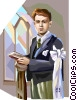 Vector Clip Art image  of a Boy at First Communion