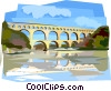 Vector Clip Art graphic  of a Pont du Gard Roman Aqueduct