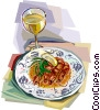 French seafood with glass of wine Vector Clipart graphic