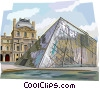 Pyramid entrance at the Louvre, Paris Vector Clipart image