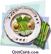 French cuisine asparagus meal Vector Clipart picture
