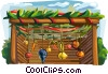Sukkah with decorations for the Sukkot holiday Vector Clipart illustration