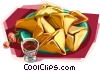 Plate of hamantachen with kiddush cup Vector Clipart picture
