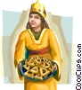 Girl wearing Purim costume offering hamentachen Vector Clipart graphic