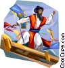 Vector Clipart illustration  of a Korean Chusok Chanjun playing