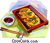 Korean cuisine fried cakes Vector Clip Art graphic
