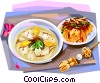 Korean cuisine rice-cake soup and kimchi Vector Clipart picture