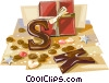 Dutch Christmas chocolate letters Vector Clipart picture